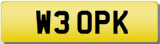 PK 3 OPK 30 THIRTY INITIALS Private CHERISHED Registration Number Plate